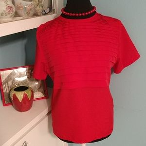 Vintage Cherry Red Blouse JG by Joyce Top Shirt